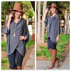 Charcoal Grey Poncho Style Tunic